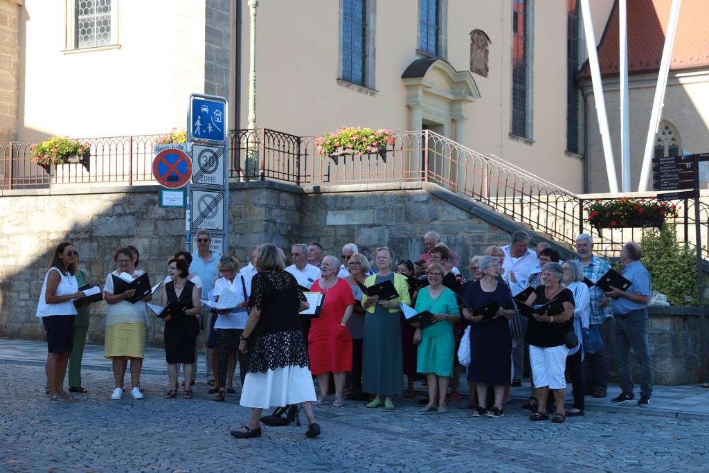 Der Gemischte Chor des SV Mellrichstadt bei der Nacht der Chöre im Juni 2019 unter der Leitung von Marianne Klemm. (Foto: Carolin Fritz-Reich)